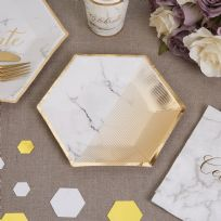 Scripted Marble Medium Paper Plates (8)